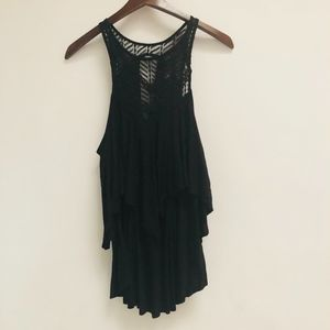 Free People Black Tiered tank top size S